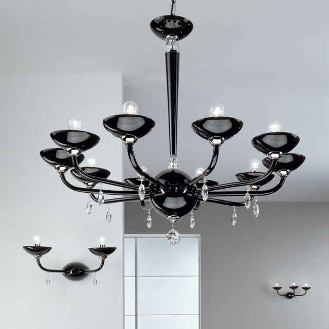 Murano and chrome chandelier, contemporary style