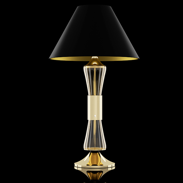 Metal and Murano glass table lamp, deco style