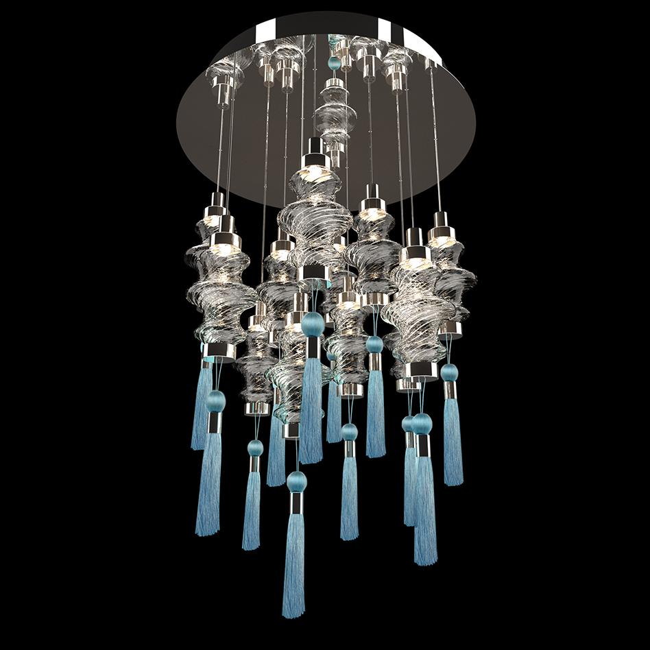 Murano glass lighting cascade chandelier, contemporary style