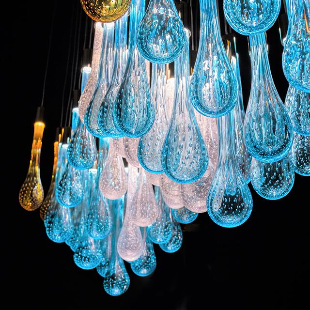 glass drops of Murano Glass form Lir cascade lighting